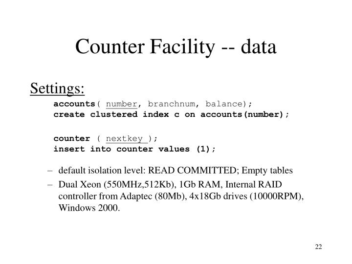 Counter Facility -- data