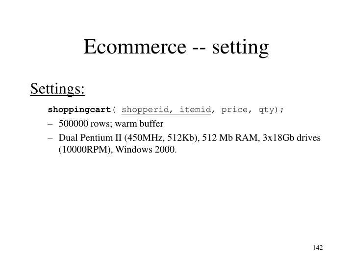 Ecommerce -- setting