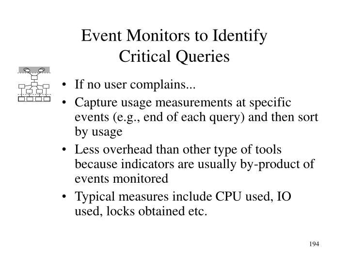 Event Monitors to Identify