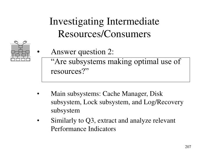Investigating Intermediate Resources/Consumers