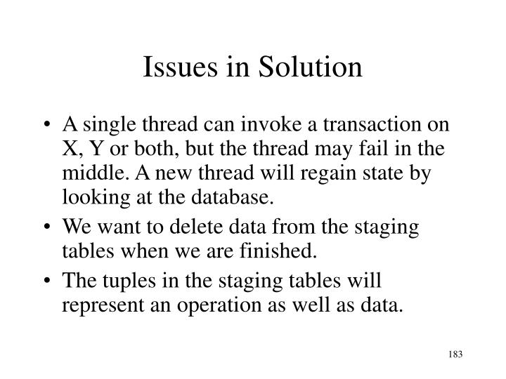 Issues in Solution