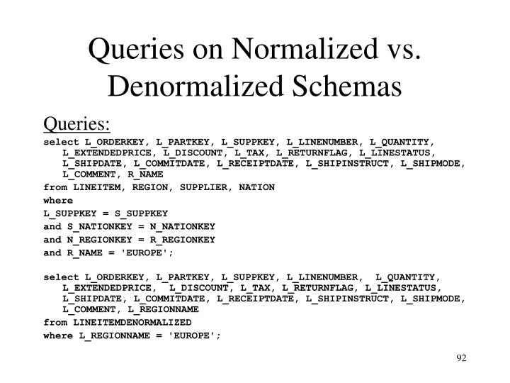 Queries on Normalized vs. Denormalized Schemas