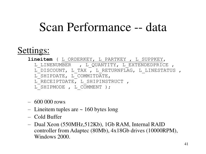 Scan Performance -- data