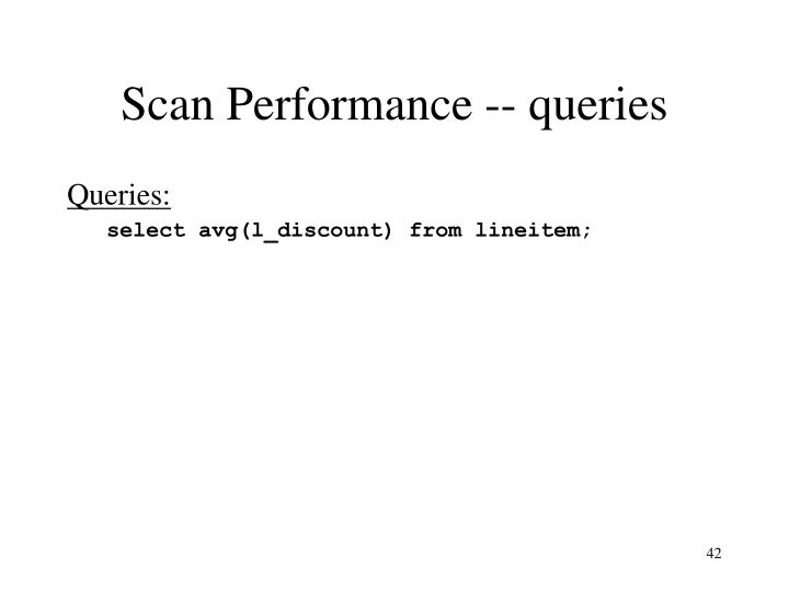 Scan Performance -- queries
