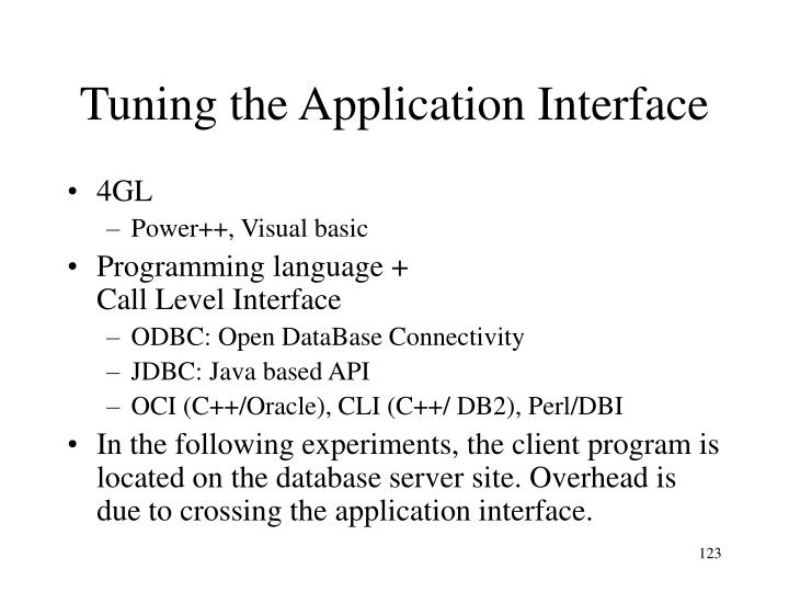 Tuning the Application Interface
