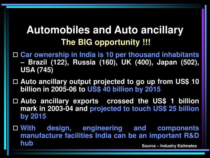 Automobiles and Auto ancillary