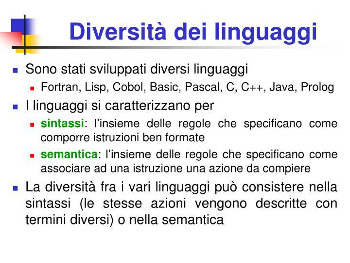 Diversità dei linguaggi