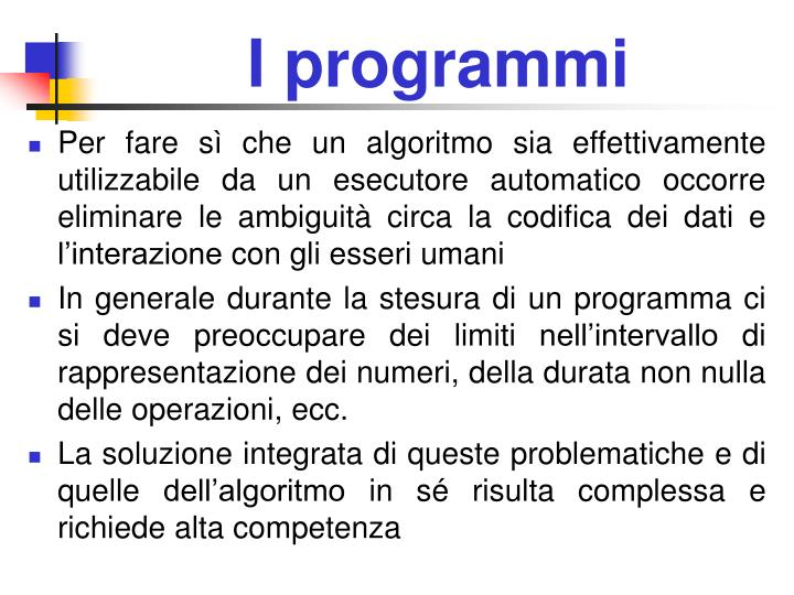 I programmi