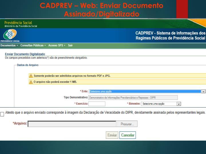 CADPREV – Web: Enviar Documento Assinado/Digitalizado