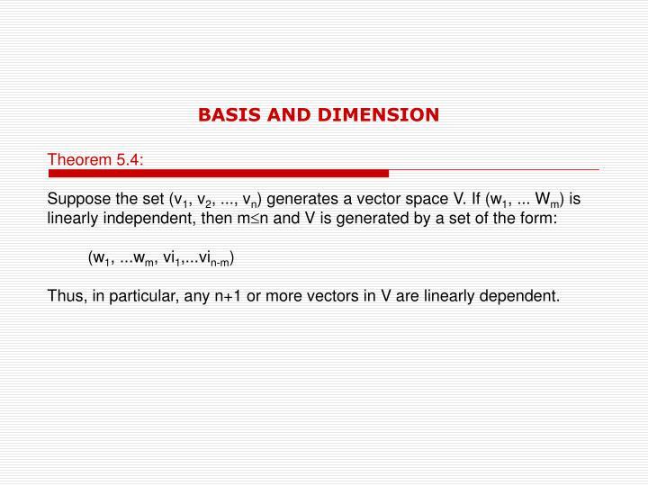 BASIS AND DIMENSION
