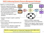 race addressing dynamic resource management challenges