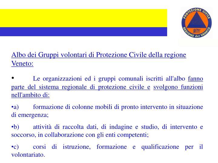 Albo dei Gruppi volontari di Protezione Civile della regione Veneto: