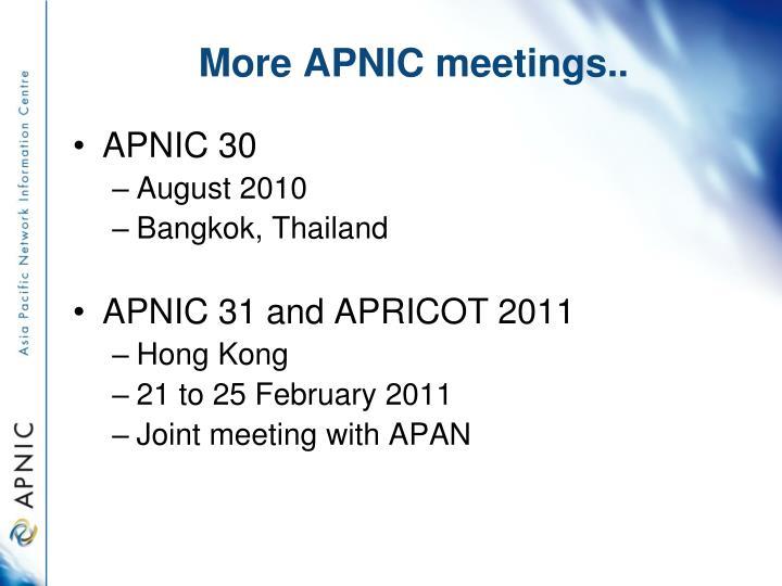 More APNIC meetings..
