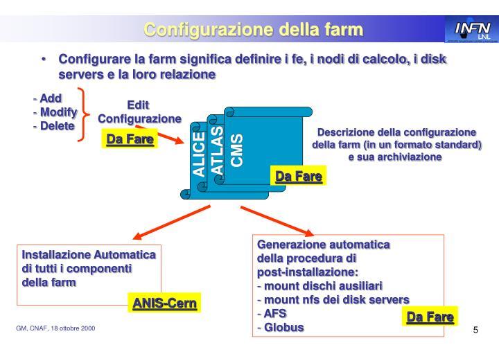Configurazione della farm