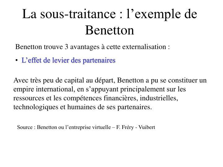 La sous-traitance : l'exemple de Benetton