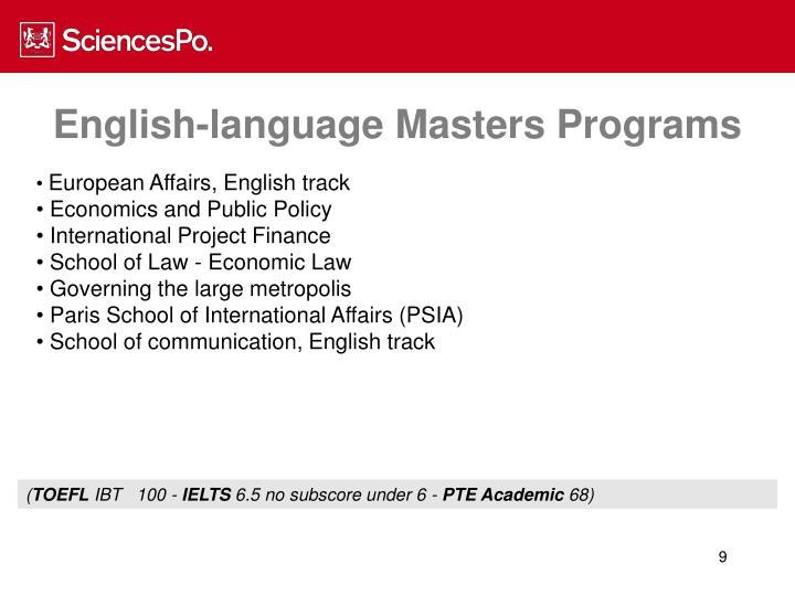 English-language Masters Programs