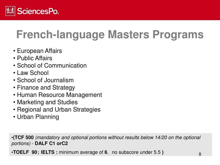 French-language Masters Programs