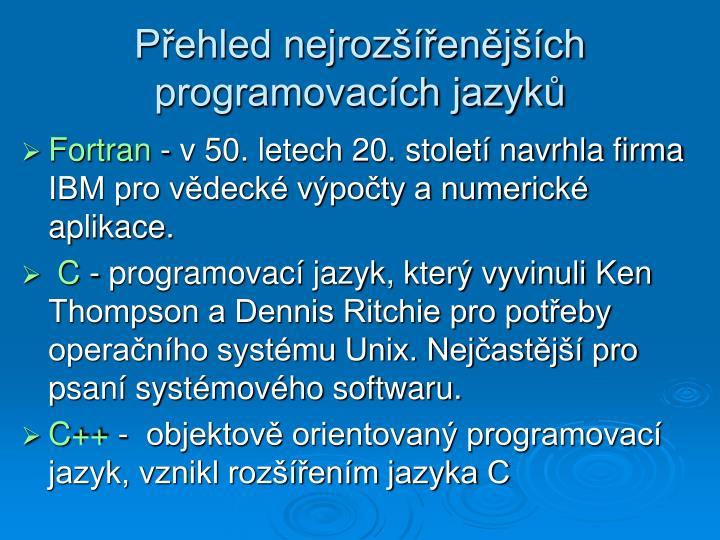 Přehled nejrozšířenějších programovacích jazyků