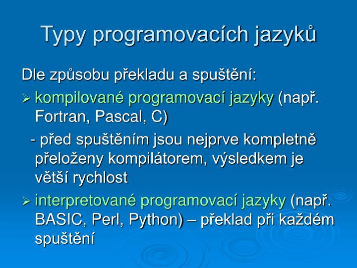 Typy programovacích jazyků