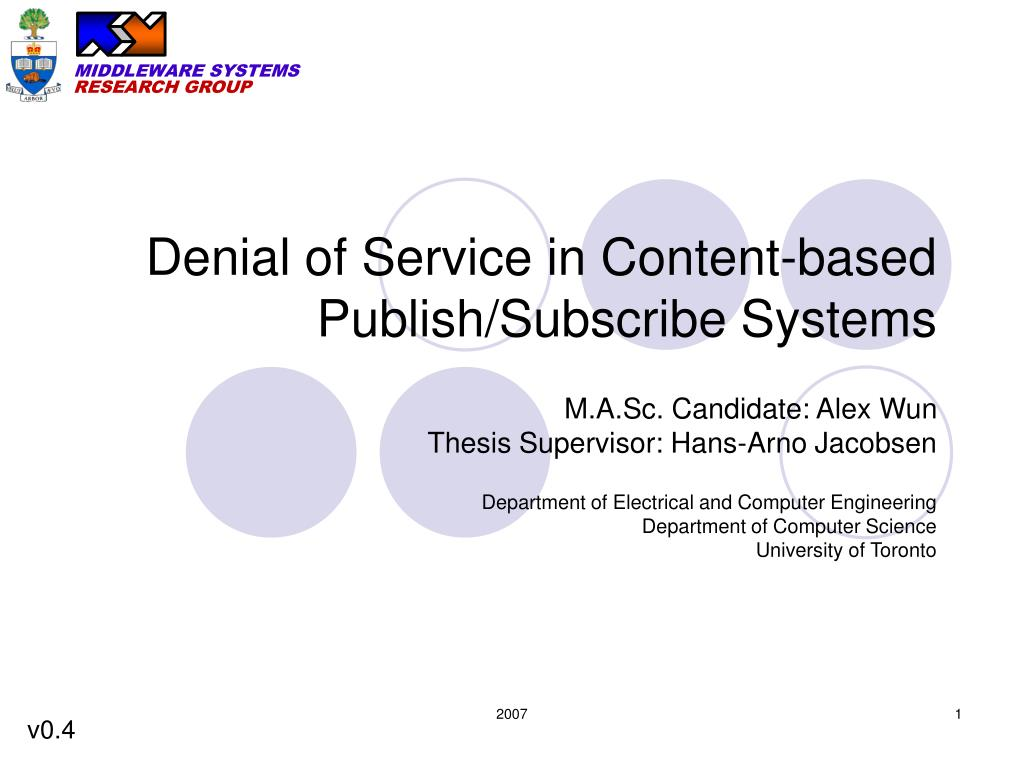 denial of service in content based publish subscribe systems n.