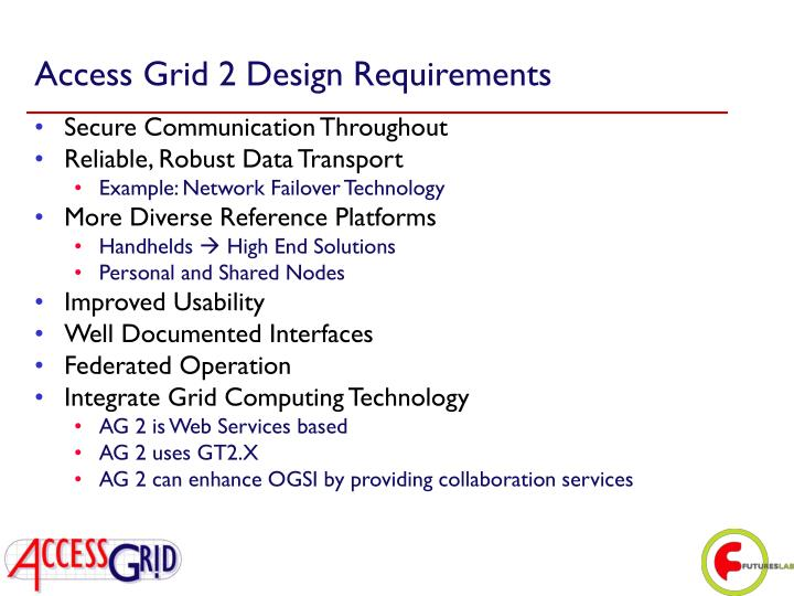 Access Grid 2 Design Requirements