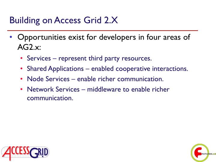 Building on Access Grid 2.X
