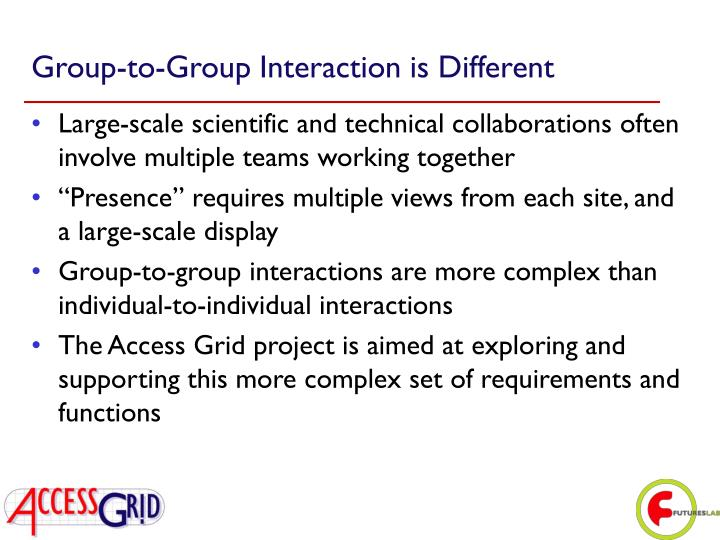 Group-to-Group Interaction is Different