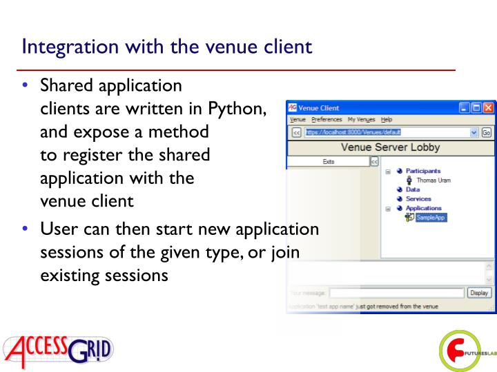 Integration with the venue client