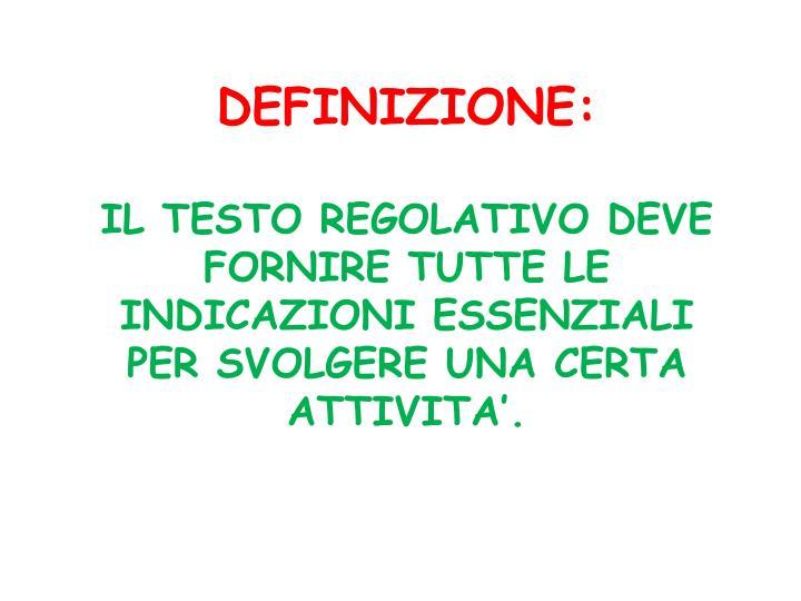 DEFINIZIONE: