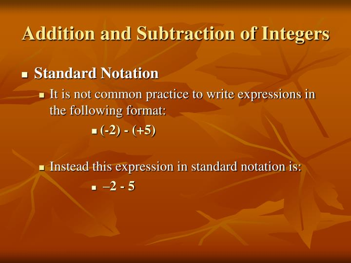 Addition and Subtraction of Integers