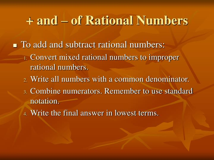 + and – of Rational Numbers