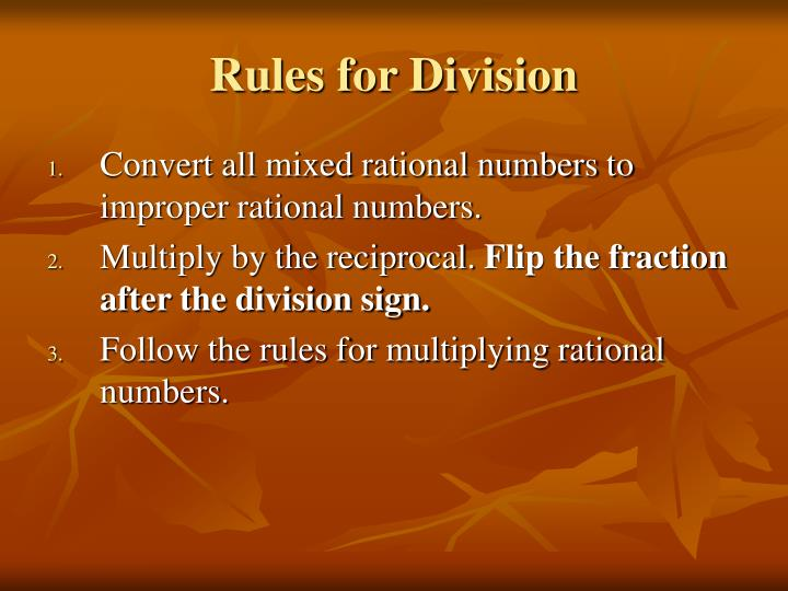 Rules for Division