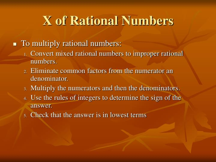 X of Rational Numbers