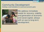community development building a solid foundation for social and economic gains