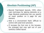 absolute positioning ap