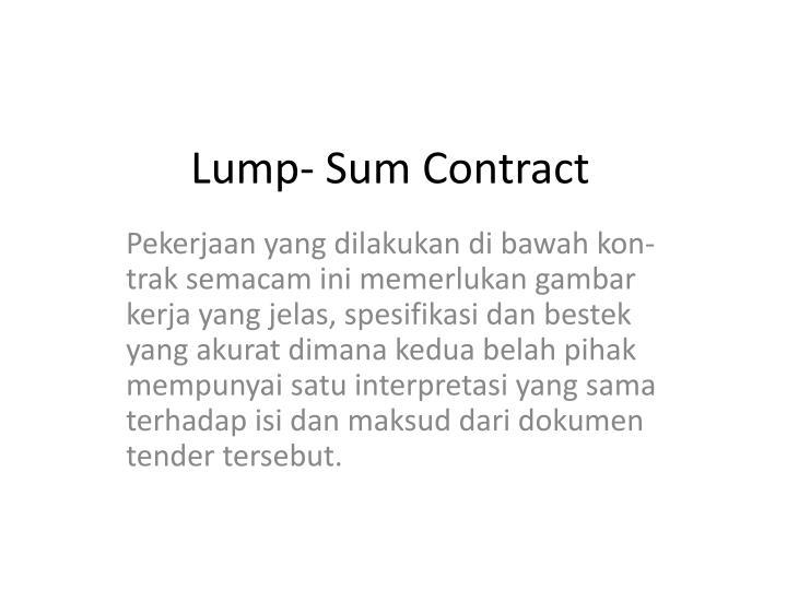 Lump- Sum Contract
