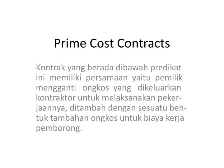 Prime Cost Contracts