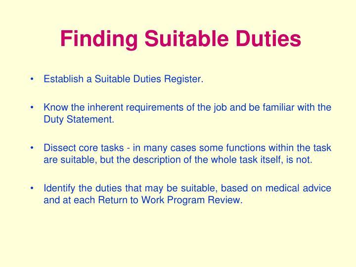 Finding Suitable Duties