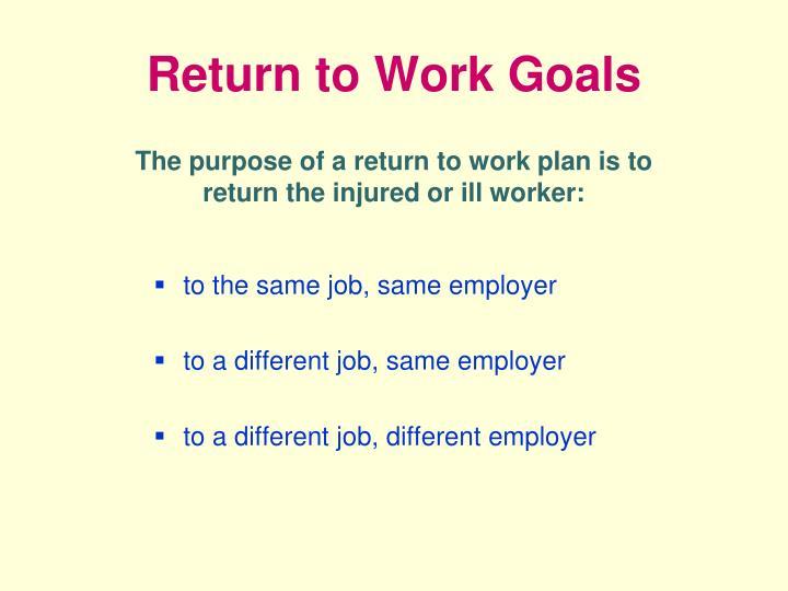 Return to Work Goals