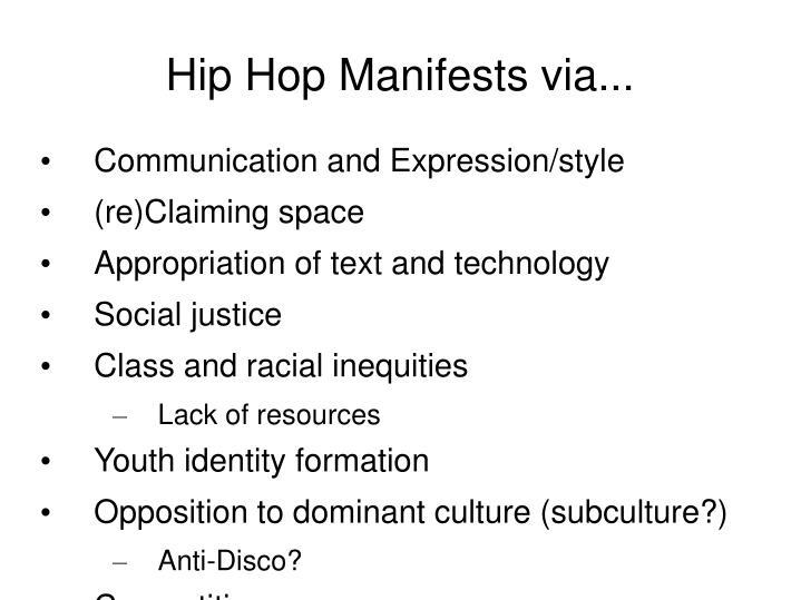 Hip hop manifests via