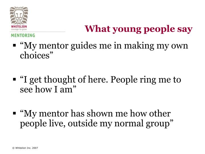 What young people say