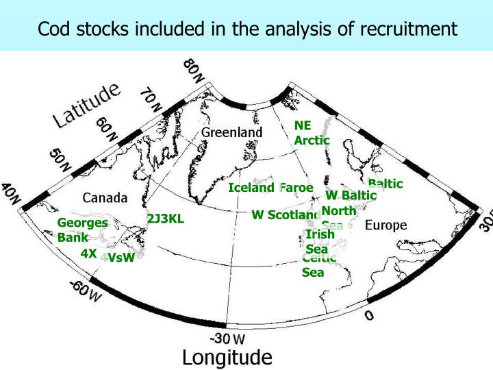 Cod stocks included in the analysis of recruitment