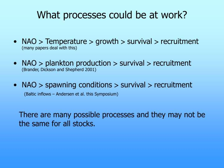 What processes could be at work?