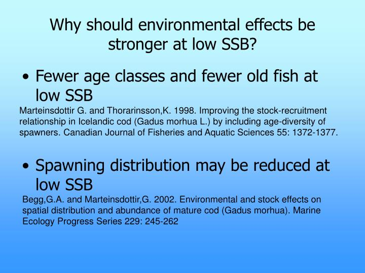 Why should environmental effects be stronger at low SSB?