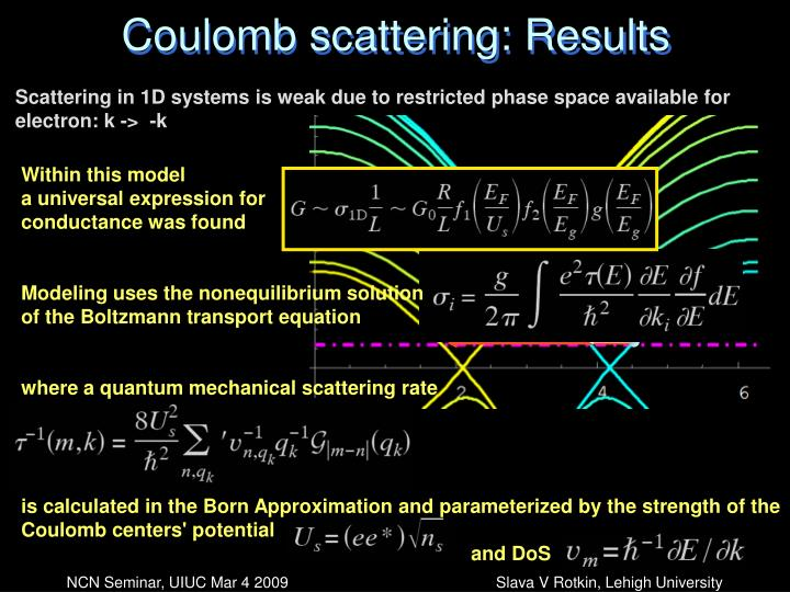 Coulomb scattering: Results