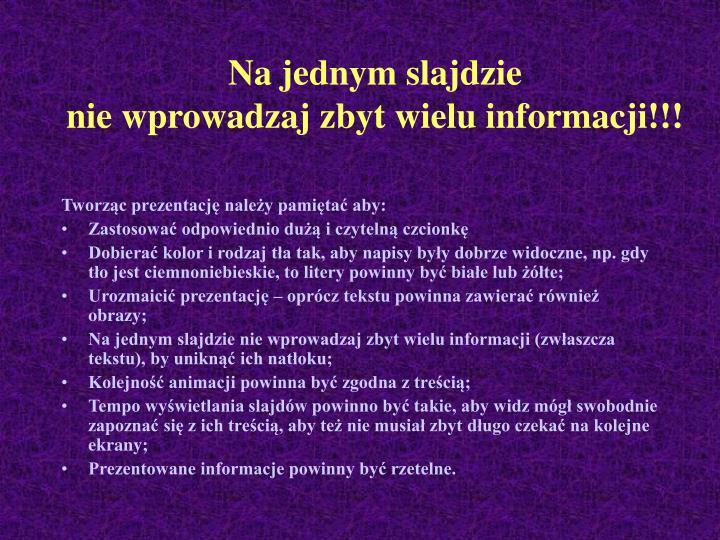 Na jednym slajdzie