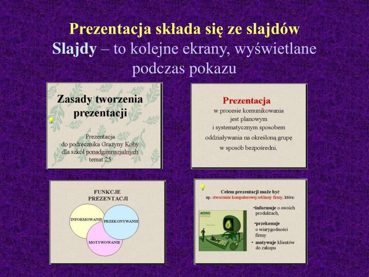 Prezentacja składa się ze slajdów