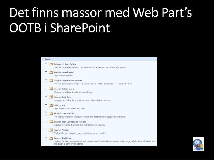 Det finns massor med Web Part's OOTB i SharePoint