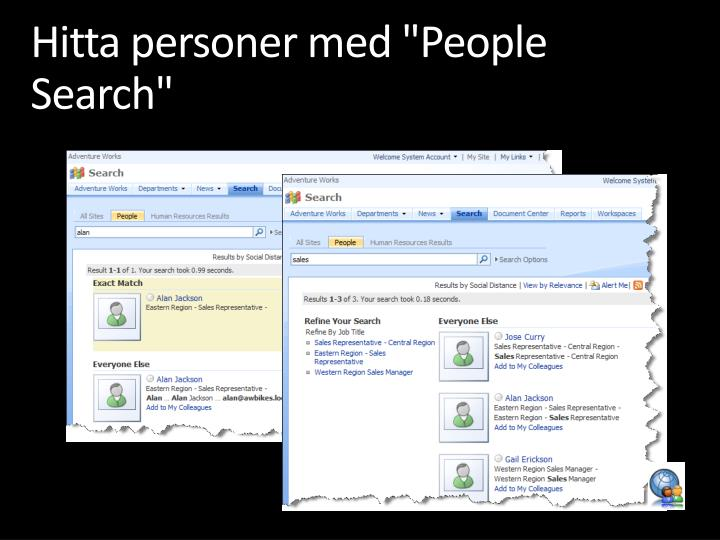 "Hitta personer med ""People Search"""