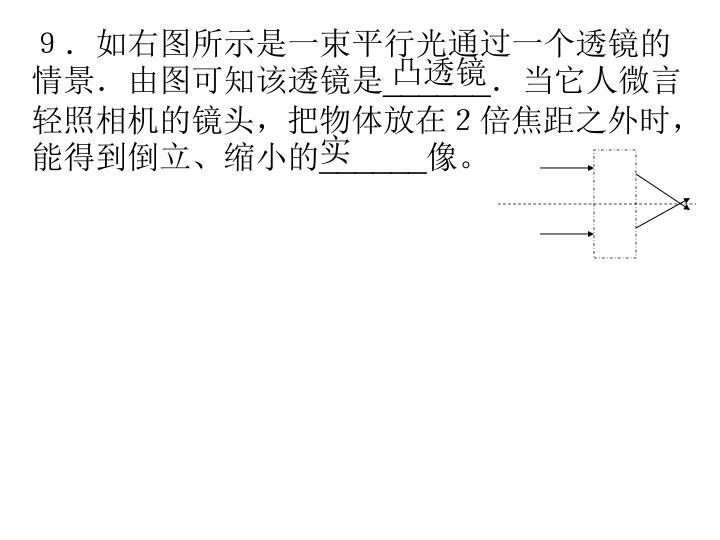 9.如右图所示是一束平行光通过一个透镜的情景.由图可知该透镜是